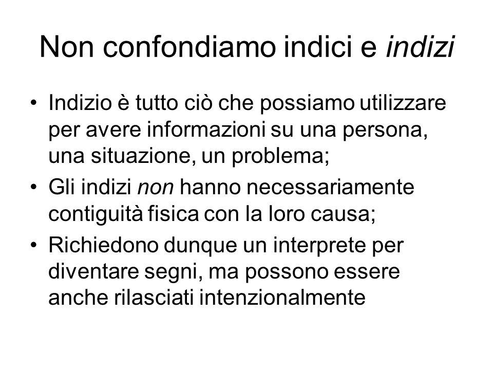 Non confondiamo indici e indizi Indizio è tutto ciò che possiamo utilizzare per avere informazioni su una persona, una situazione, un problema; Gli in