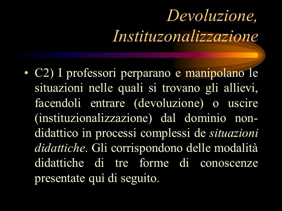 De-didattificazione C3) Nel corso dell'educazione, tutte le situazioni sono spontaneamente considerate dai ragazzi e dagli adulti come didattiche.