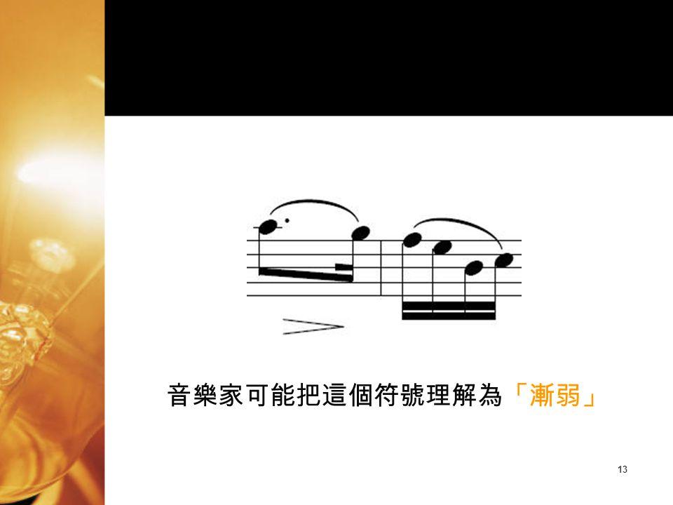 13 音樂家可能把這個符號理解為「漸弱」