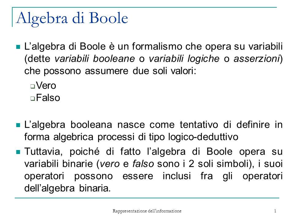 Rappresentazione dell informazione 2 Algebra di Boole Sulle variabili booleane è possibile definire delle funzioni (dette funzioni booleane o logiche) f (X 1,…,X N ) : {0,1} N {0,1} Possono essere definite tramite le tabelle di verità.