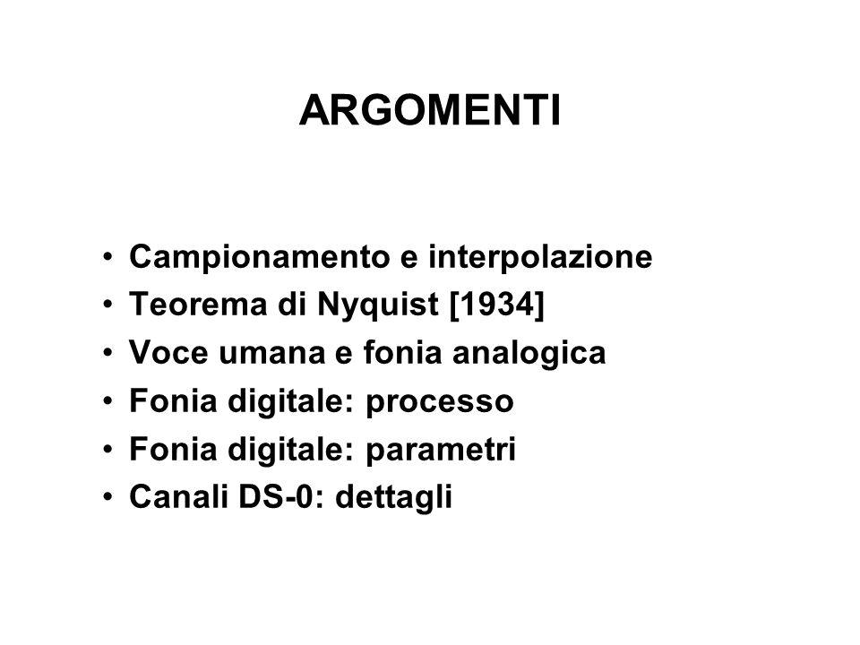 ARGOMENTI Campionamento e interpolazione Teorema di Nyquist [1934] Voce umana e fonia analogica Fonia digitale: processo Fonia digitale: parametri Canali DS-0: dettagli