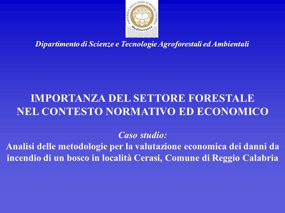 Dipartimento di Scienze e Tecnologie Agroforestali ed Ambientali IMPORTANZA DEL SETTORE FORESTALE NEL CONTESTO NORMATIVO ED ECONOMICO Caso studio: Ana