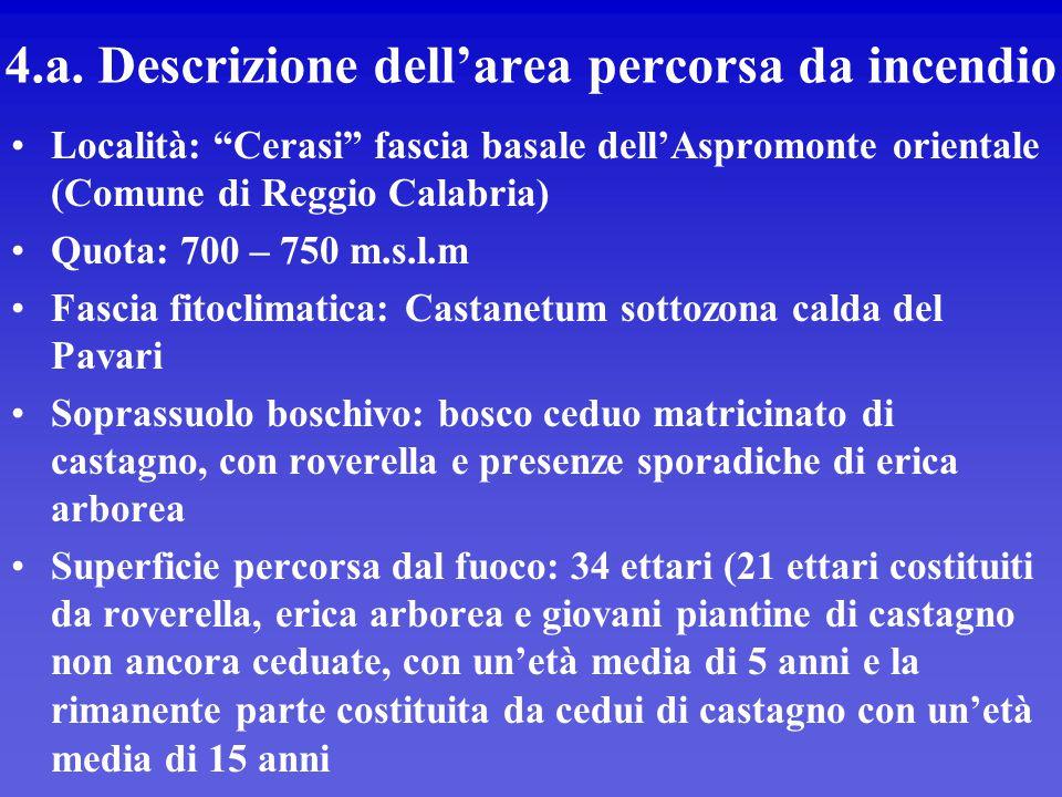 """4.a. Descrizione dell'area percorsa da incendio Località: """"Cerasi"""" fascia basale dell'Aspromonte orientale (Comune di Reggio Calabria) Quota: 700 – 75"""