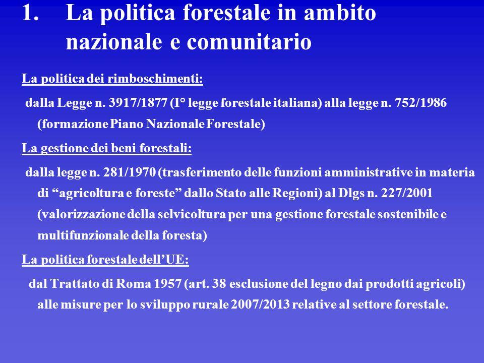 1.La politica forestale in ambito nazionale e comunitario La politica dei rimboschimenti: dalla Legge n. 3917/1877 (I° legge forestale italiana) alla