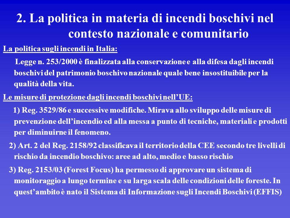2. La politica in materia di incendi boschivi nel contesto nazionale e comunitario La politica sugli incendi in Italia: Legge n. 253/2000 è finalizzat