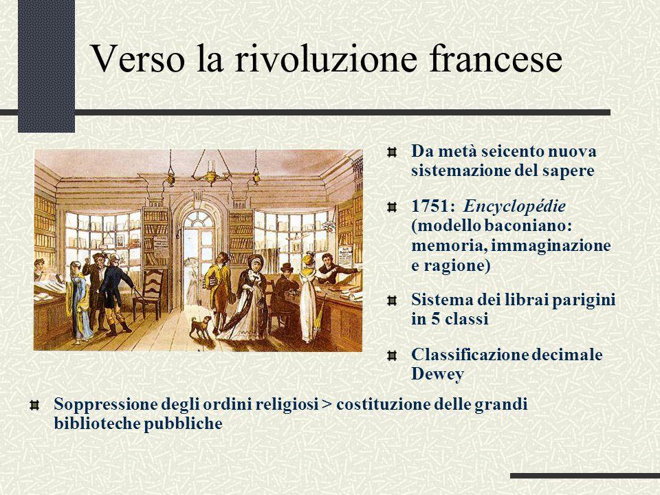 Verso la rivoluzione francese Da metà seicento nuova sistemazione del sapere Sistema dei librai parigini in 5 classi Soppressione degli ordini religio