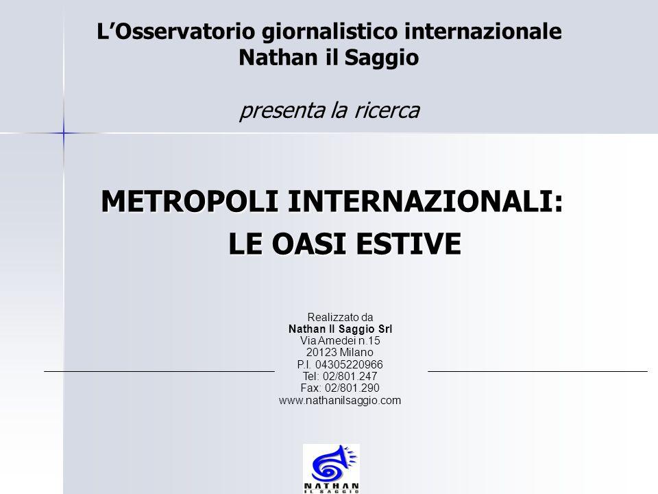 METROPOLI INTERNAZIONALI: METROPOLI INTERNAZIONALI: LE OASI ESTIVE LE OASI ESTIVE Realizzato da Nathan Il Saggio Srl Via Amedei n.15 20123 Milano P.I.