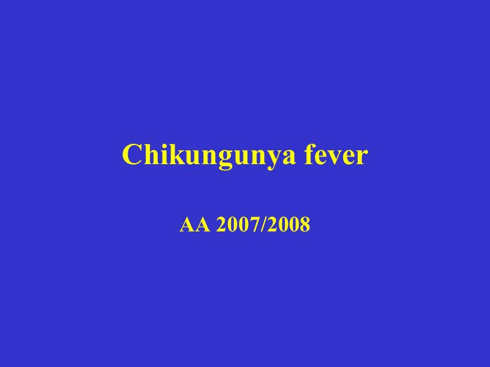 Chikungunya fever AA 2007/2008