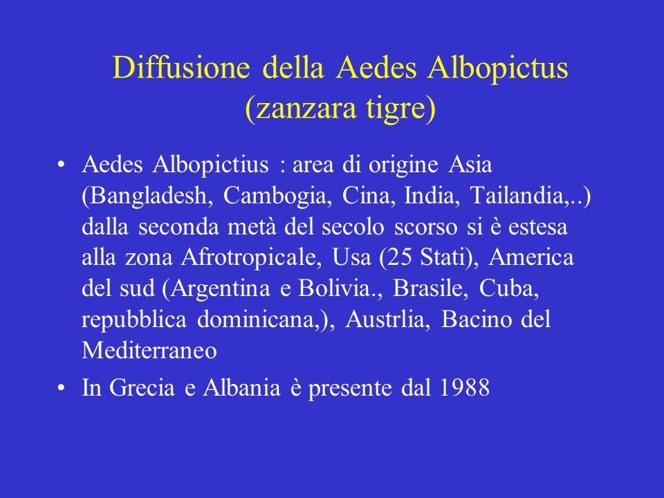 Diffusione della Aedes Albopictus (zanzara tigre) Aedes Albopictius : area di origine Asia (Bangladesh, Cambogia, Cina, India, Tailandia,..) dalla seconda metà del secolo scorso si è estesa alla zona Afrotropicale, Usa (25 Stati), America del sud (Argentina e Bolivia., Brasile, Cuba, repubblica dominicana,), Austrlia, Bacino del Mediterraneo In Grecia e Albania è presente dal 1988