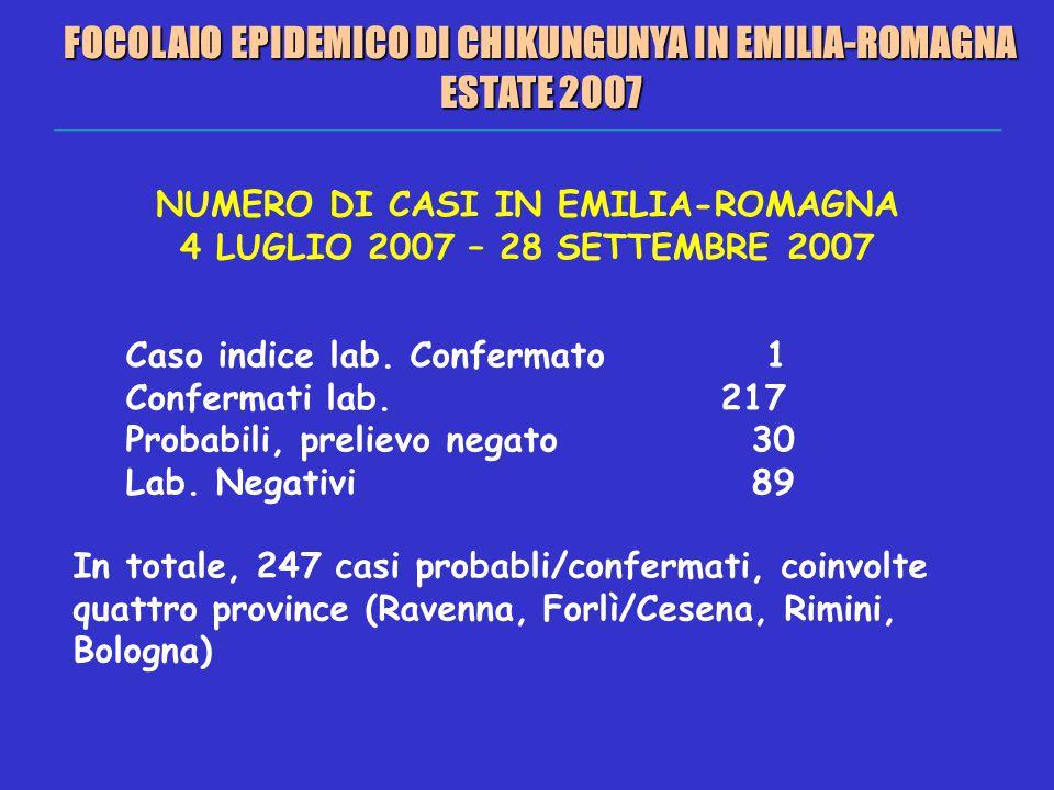 NUMERO DI CASI IN EMILIA-ROMAGNA 4 LUGLIO 2007 – 28 SETTEMBRE 2007 Caso indice lab.