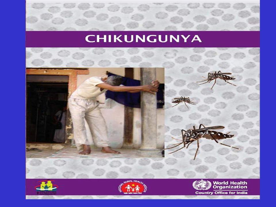 Chikungunya fever: clinica Incubazione 1-12 gg, viremia 3-5 gg Esordio brusco: Febbre elevata > 40°C, brivido scuotente, artralgie poliarticolari (piccole articolazioni), mialgie  il paziente evita di muoversi il più possibile e assume posture antalgiche Rash maculo-papulare compare 3-5 gg dopo esordio sintomi Cefalea, fotofobia, dolore retro-orbitario, faringite nausea e vomito