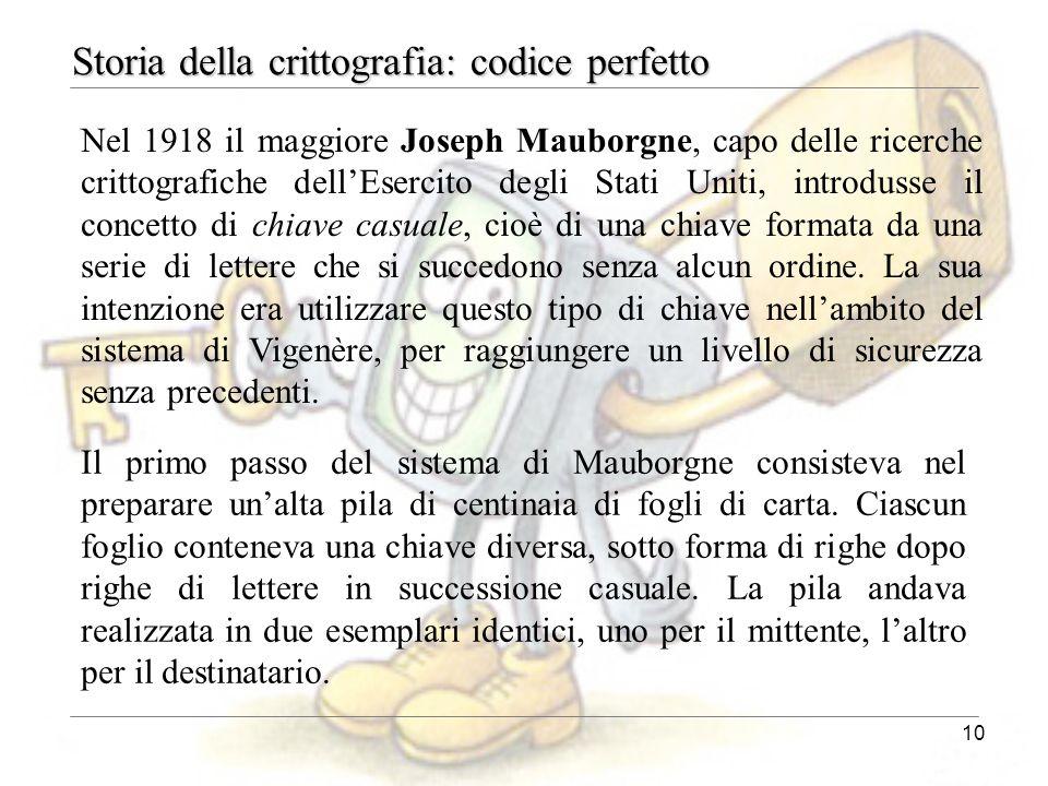 10 Storia della crittografia: codice perfetto Nel 1918 il maggiore Joseph Mauborgne, capo delle ricerche crittografiche dell'Esercito degli Stati Unit