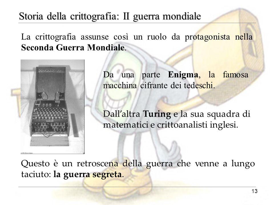 13 Dall'altra Turing e la sua squadra di matematici e crittoanalisti inglesi. La crittografia assunse così un ruolo da protagonista nella Seconda Guer