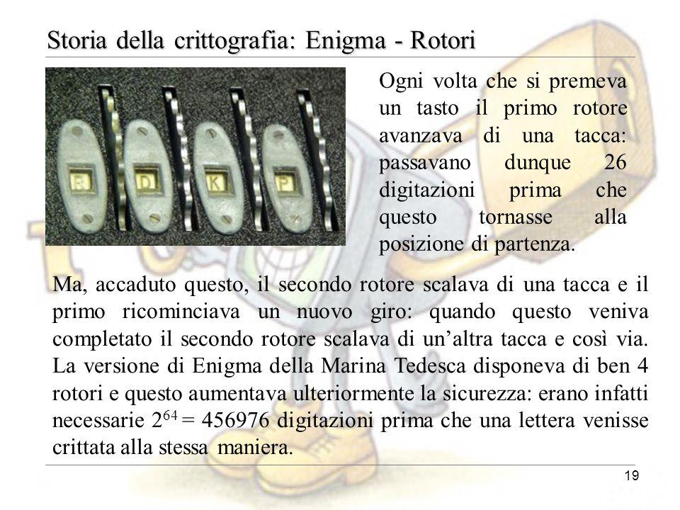19 Storia della crittografia: Enigma - Rotori Ma, accaduto questo, il secondo rotore scalava di una tacca e il primo ricominciava un nuovo giro: quand