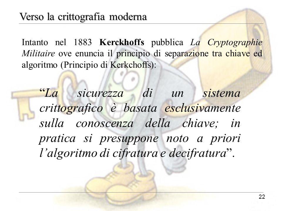 22 Intanto nel 1883 Kerckhoffs pubblica La Cryptographie Militaire ove enuncia il principio di separazione tra chiave ed algoritmo (Principio di Kerkc