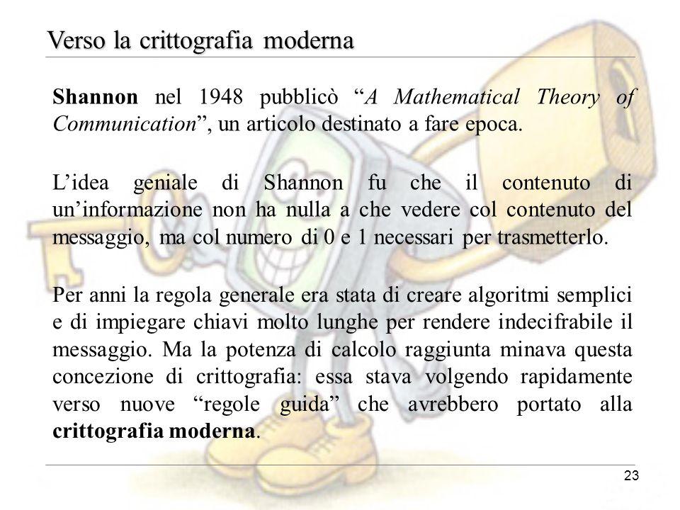 """23 Shannon nel 1948 pubblicò """"A Mathematical Theory of Communication"""", un articolo destinato a fare epoca. Verso la crittografia moderna L'idea genial"""