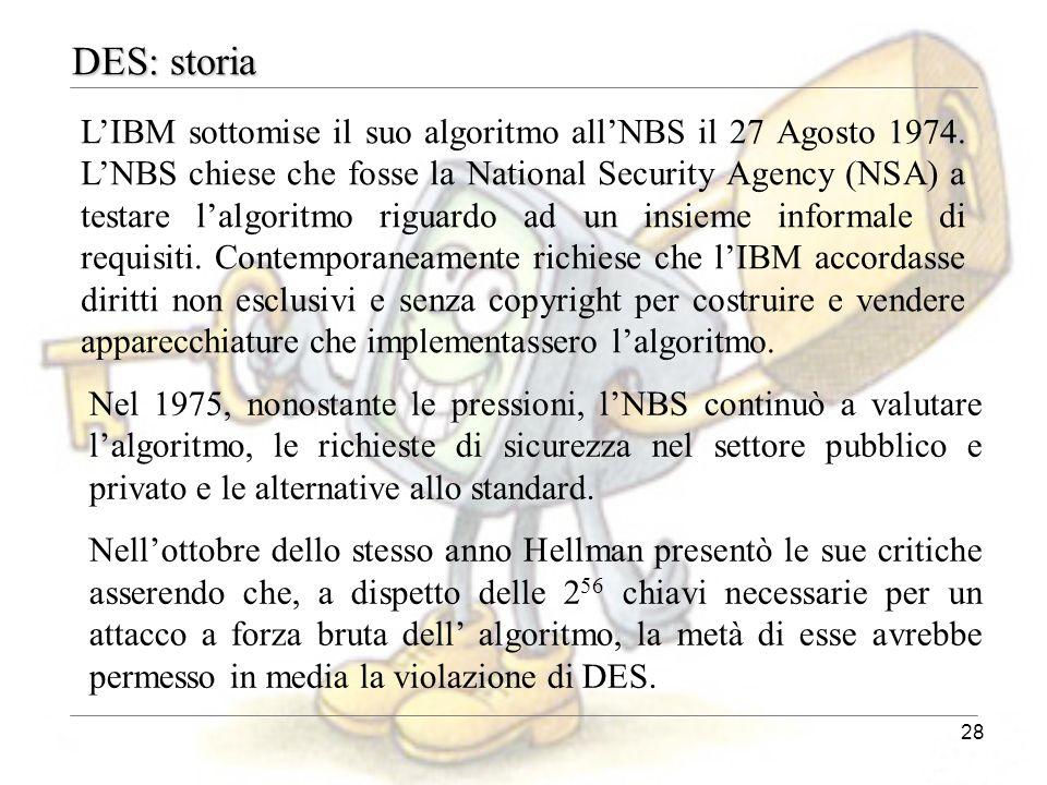 28 DES: storia L'IBM sottomise il suo algoritmo all'NBS il 27 Agosto 1974. L'NBS chiese che fosse la National Security Agency (NSA) a testare l'algori