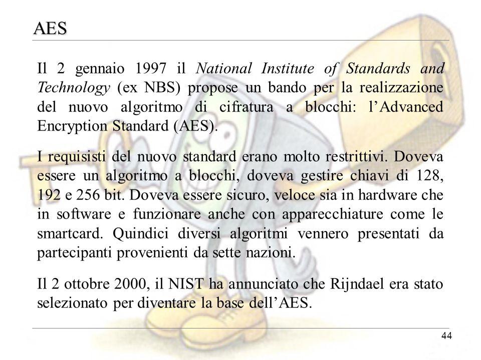 44 AES Il 2 gennaio 1997 il National Institute of Standards and Technology (ex NBS) propose un bando per la realizzazione del nuovo algoritmo di cifra