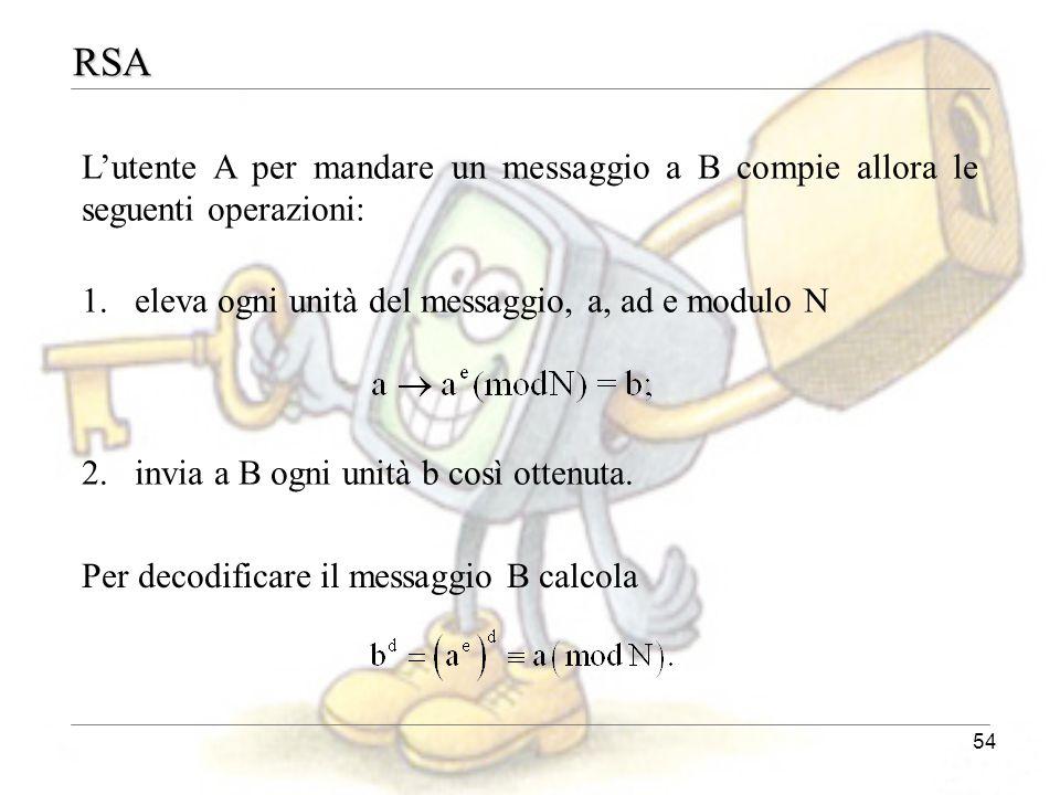 54 RSA L'utente A per mandare un messaggio a B compie allora le seguenti operazioni: 1.eleva ogni unità del messaggio, a, ad e modulo N 2.invia a B og