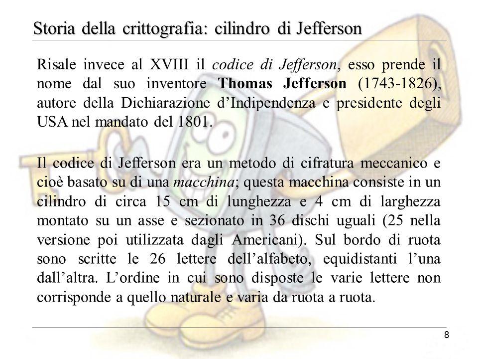 8 Storia della crittografia: cilindro di Jefferson Risale invece al XVIII il codice di Jefferson, esso prende il nome dal suo inventore Thomas Jeffers