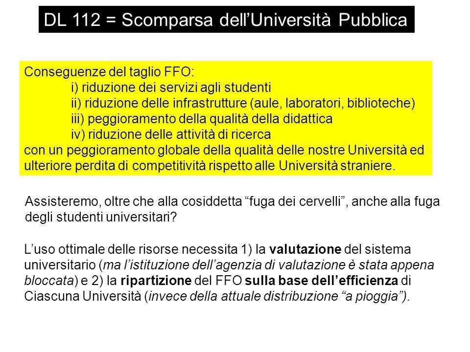 Conseguenze del taglio FFO: i) riduzione dei servizi agli studenti ii) riduzione delle infrastrutture (aule, laboratori, biblioteche) iii) peggioramen