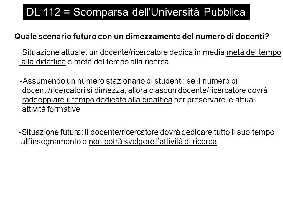 DL 112 = Scomparsa dell'Università Pubblica Quale scenario futuro con un dimezzamento del numero di docenti.