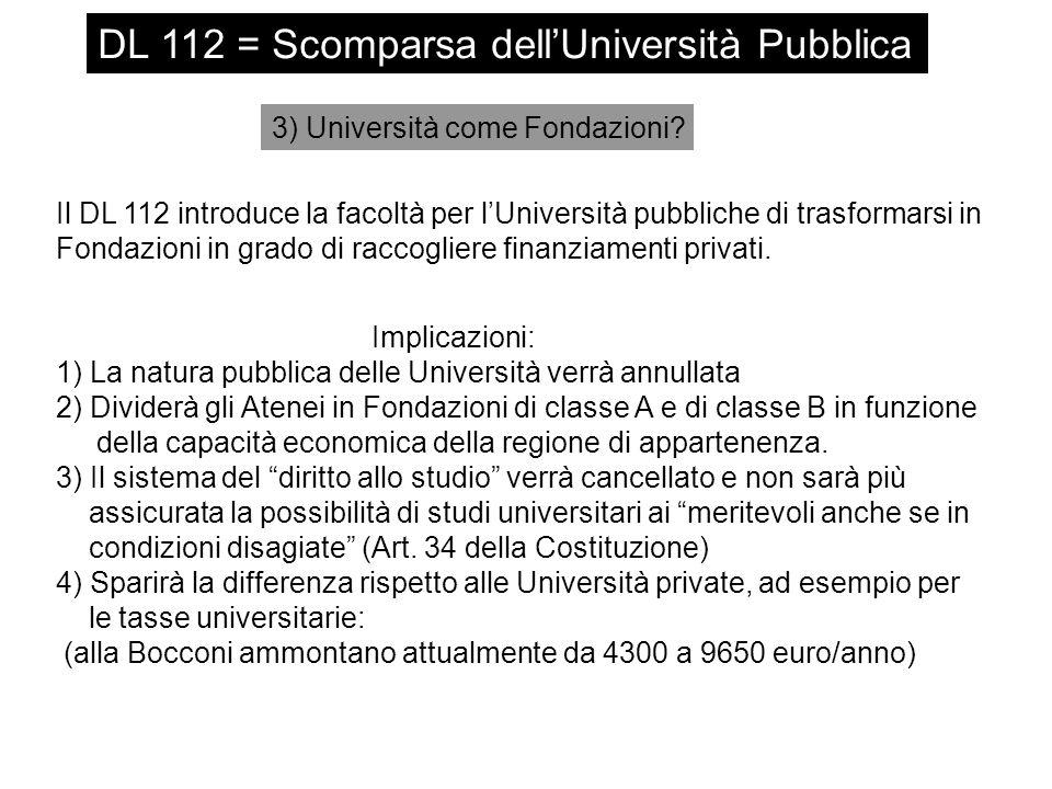 DL 112 = Scomparsa dell'Università Pubblica 3) Università come Fondazioni? Il DL 112 introduce la facoltà per l'Università pubbliche di trasformarsi i