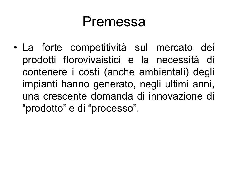 Premessa La forte competitività sul mercato dei prodotti florovivaistici e la necessità di contenere i costi (anche ambientali) degli impianti hanno g