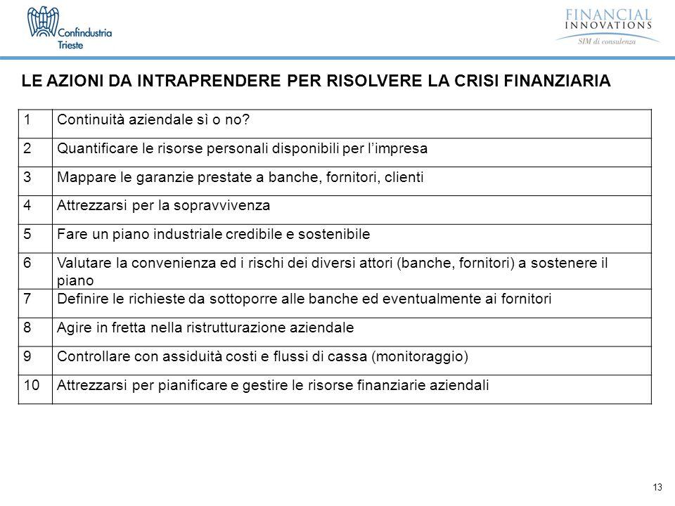 13 LE AZIONI DA INTRAPRENDERE PER RISOLVERE LA CRISI FINANZIARIA 1Continuità aziendale sì o no.
