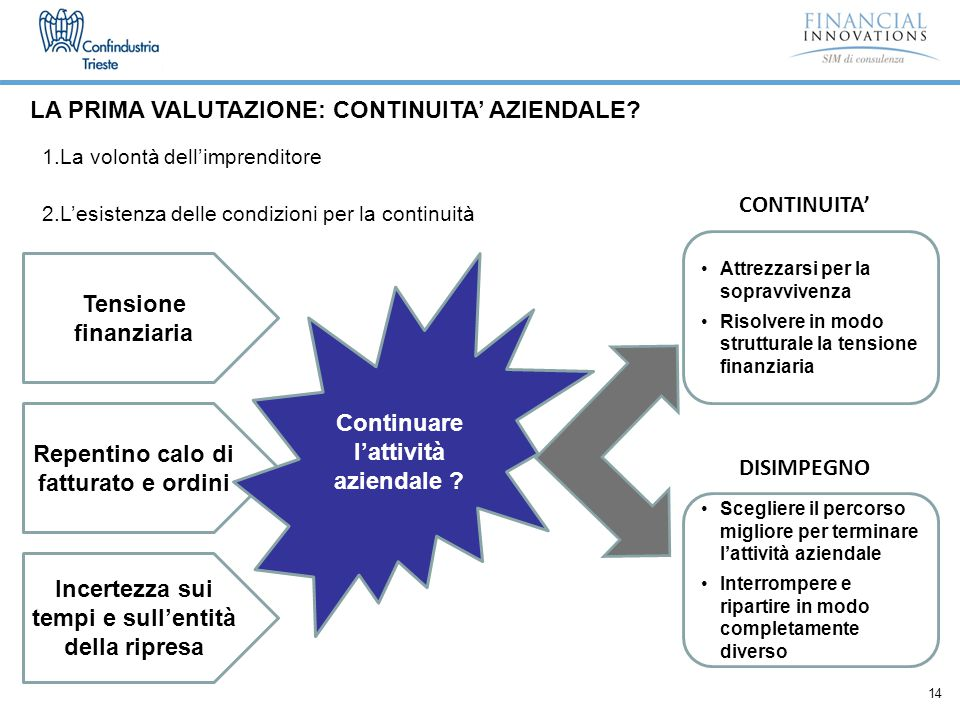 14 LA PRIMA VALUTAZIONE: CONTINUITA' AZIENDALE.