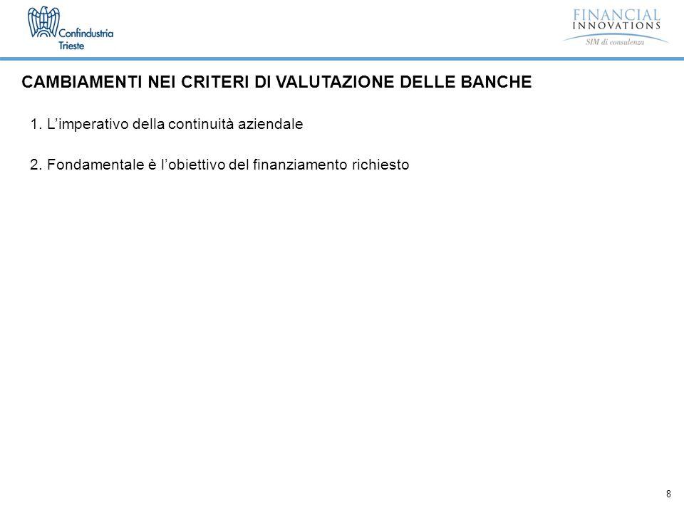 8 CAMBIAMENTI NEI CRITERI DI VALUTAZIONE DELLE BANCHE 1.