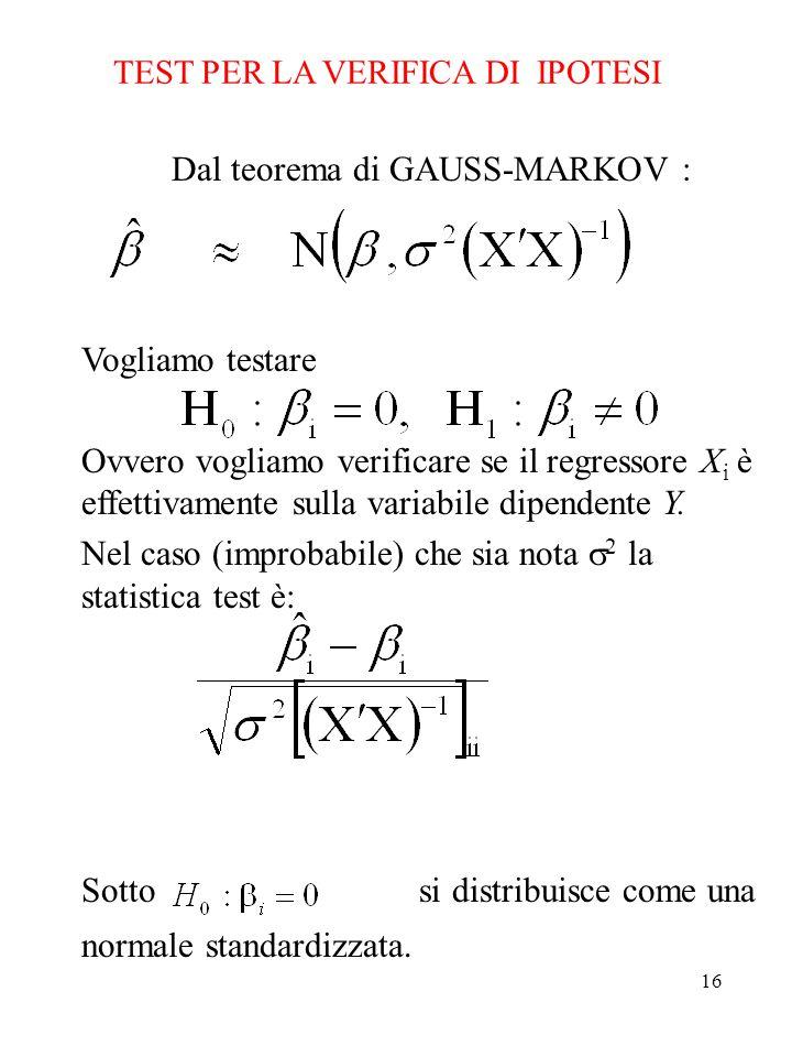 16 TEST PER LA VERIFICA DI IPOTESI Dal teorema di GAUSS-MARKOV : Vogliamo testare Ovvero vogliamo verificare se il regressore X i è effettivamente sulla variabile dipendente Y.
