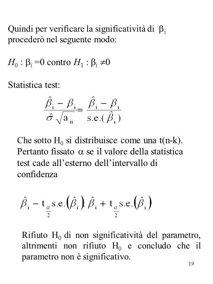 19 Quindi per verificare la significatività di  i procederò nel seguente modo: H 0 :  i =0 contro H 1 :  i  0 Statistica test: Che sotto H 0 si distribuisce come una t(n-k).