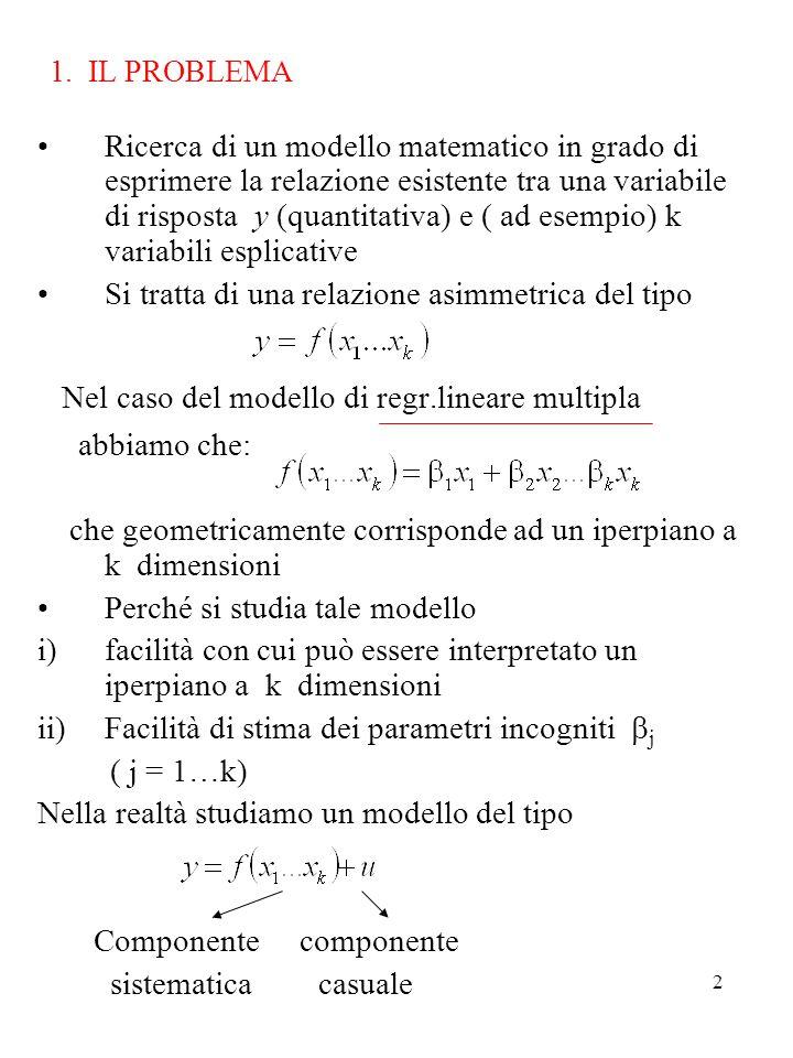 2 1. IL PROBLEMA Ricerca di un modello matematico in grado di esprimere la relazione esistente tra una variabile di risposta y (quantitativa) e ( ad e