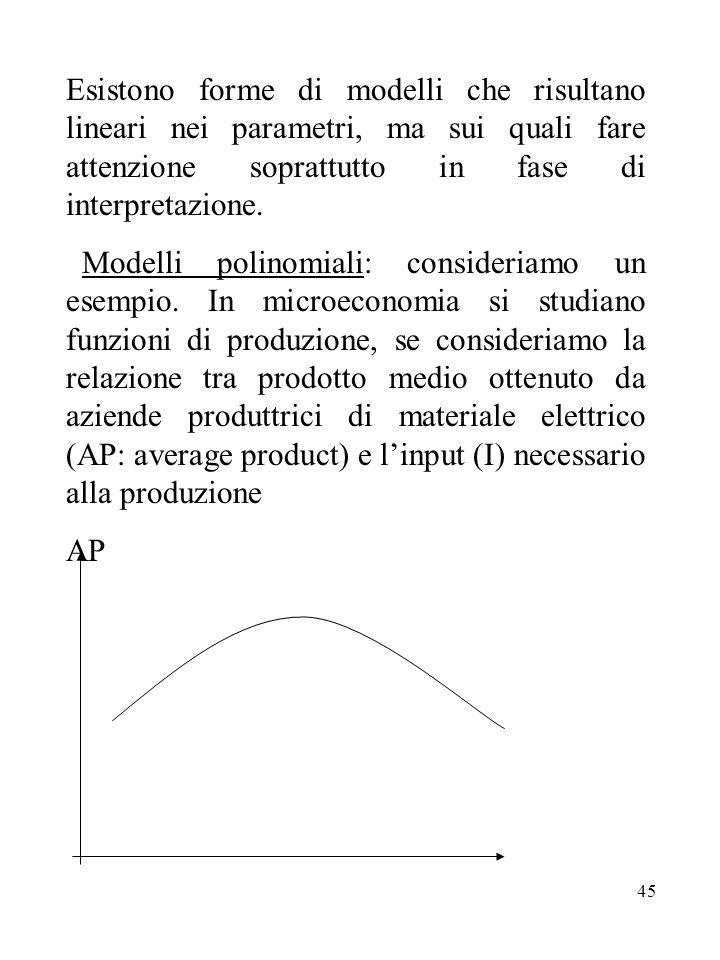45 Esistono forme di modelli che risultano lineari nei parametri, ma sui quali fare attenzione soprattutto in fase di interpretazione.