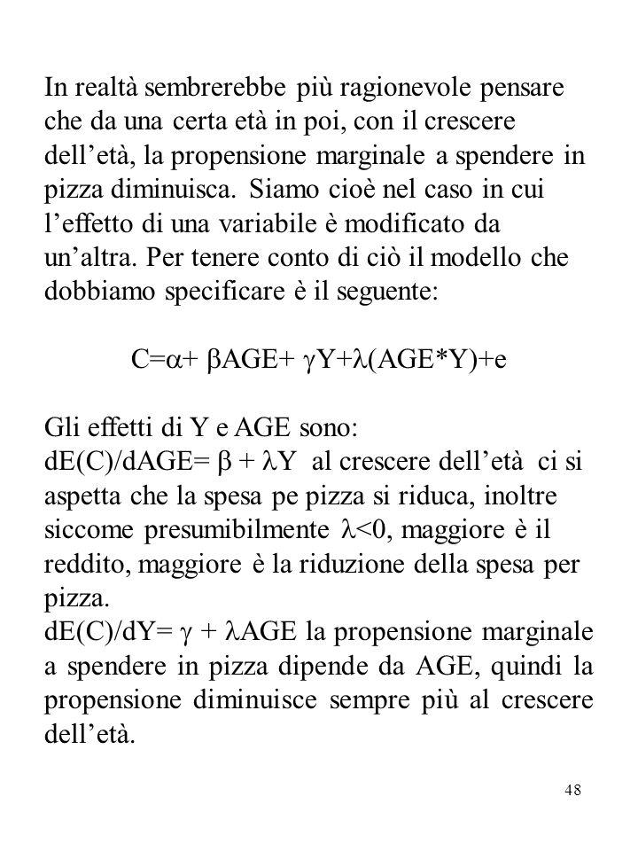 48 In realtà sembrerebbe più ragionevole pensare che da una certa età in poi, con il crescere dell'età, la propensione marginale a spendere in pizza diminuisca.