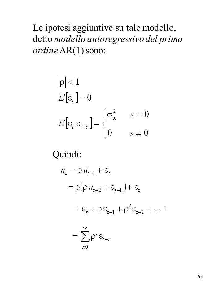 68 Le ipotesi aggiuntive su tale modello, detto modello autoregressivo del primo ordine AR(1) sono: Quindi: