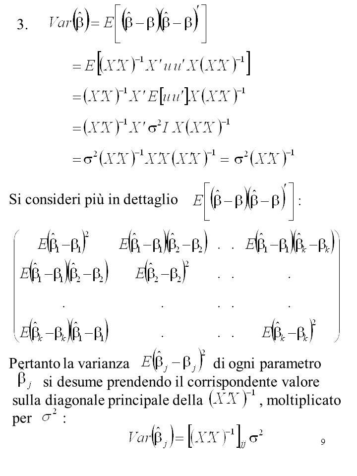 9 Si consideri più in dettaglio Pertanto la varianza di ogni parametro si desume prendendo il corrispondente valore sulla diagonale principale della, moltiplicato per : 3.