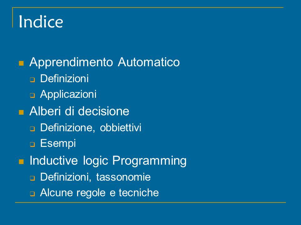 Indice Apprendimento Automatico  Definizioni  Applicazioni Alberi di decisione  Definizione, obbiettivi  Esempi Inductive logic Programming  Definizioni, tassonomie  Alcune regole e tecniche