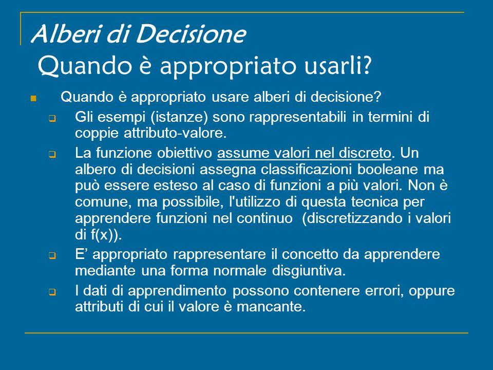 Alberi di Decisione Quando è appropriato usarli. Quando è appropriato usare alberi di decisione.