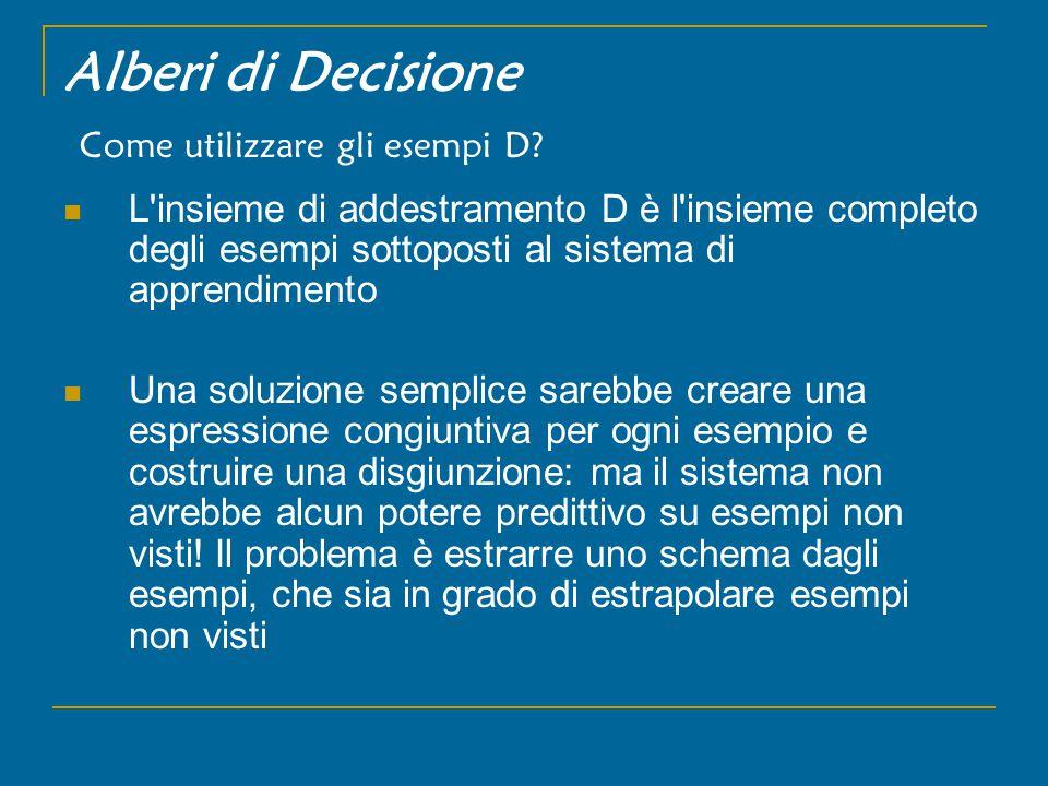 Alberi di Decisione Come utilizzare gli esempi D.