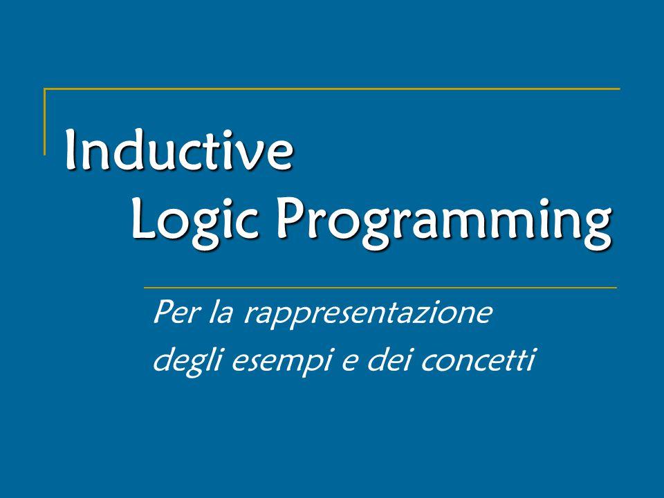 Inductive Logic Programming Per la rappresentazione degli esempi e dei concetti