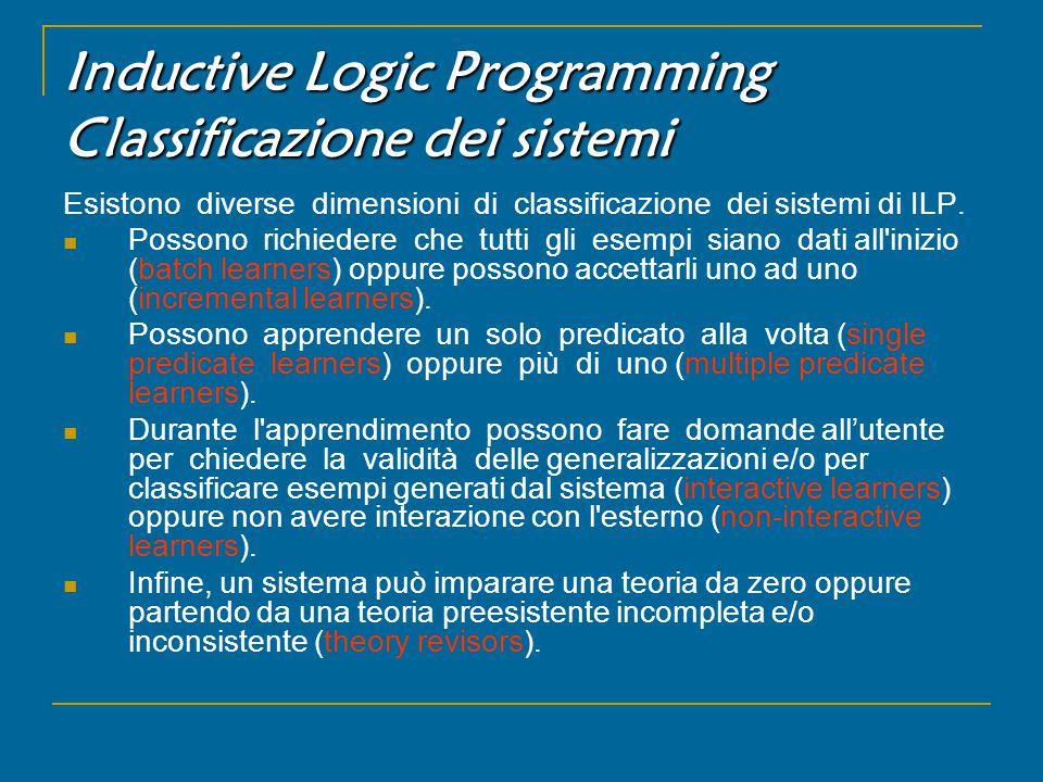 Inductive Logic Programming Classificazione dei sistemi Esistono diverse dimensioni di classificazione dei sistemi di ILP.