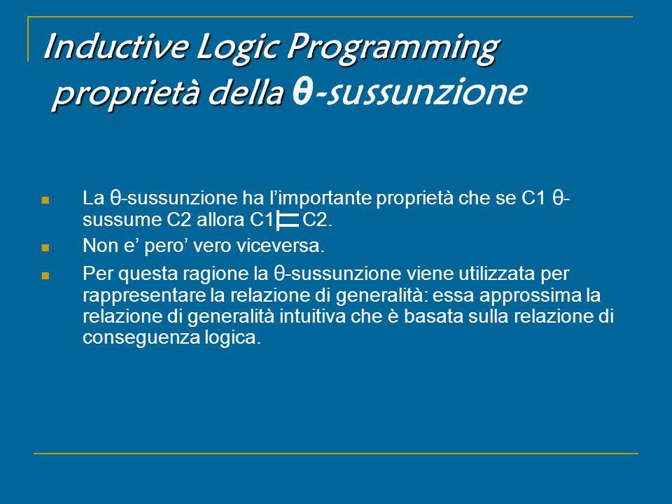 Inductive Logic Programming proprietà della Inductive Logic Programming proprietà della θ -sussunzione La θ -sussunzione ha l'importante proprietà che se C1 θ - sussume C2 allora C1 C2.