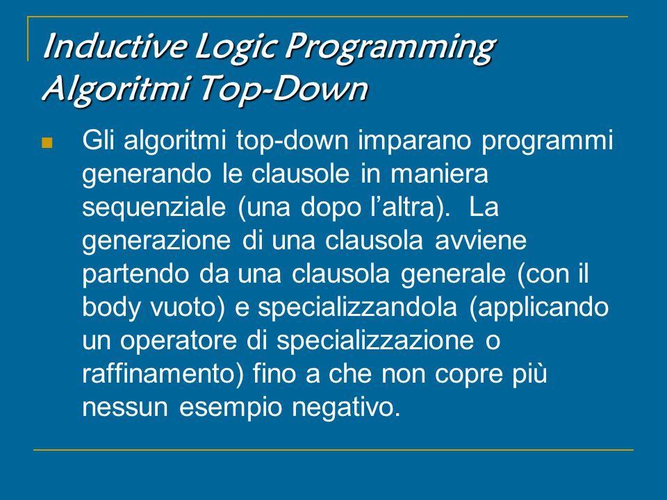 Inductive Logic Programming Algoritmi Top-Down Gli algoritmi top-down imparano programmi generando le clausole in maniera sequenziale (una dopo l'altra).