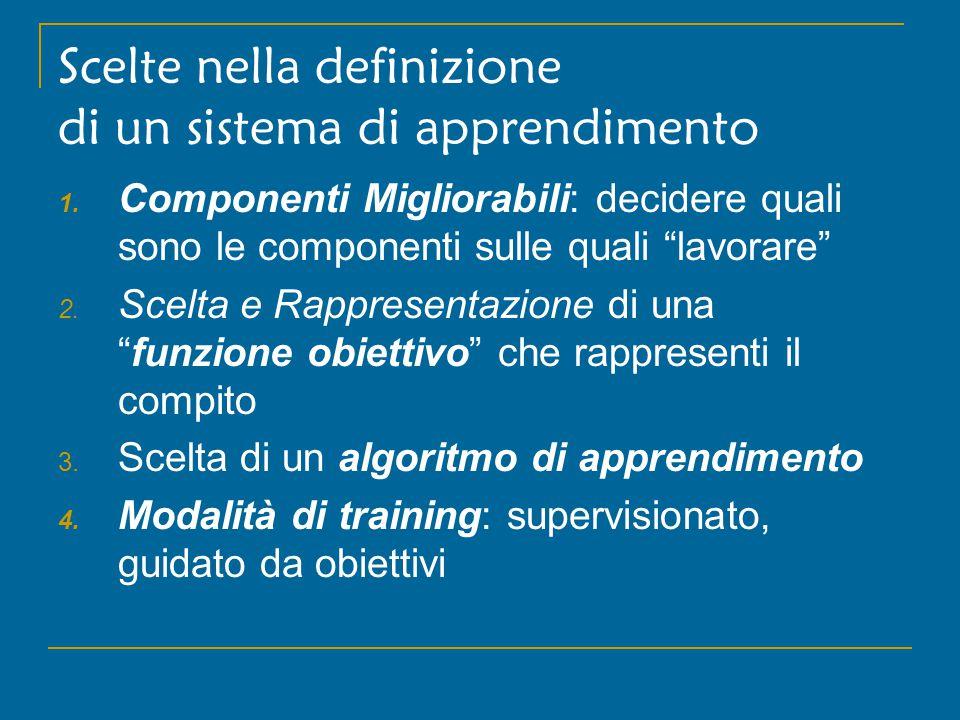 2.funzione obiettivo Funzione obiettivo: espressione formale della conoscenza appresa.