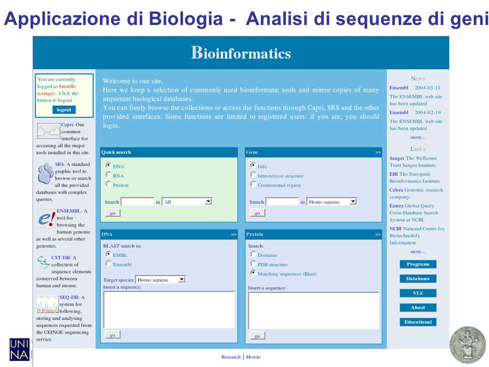 A. Murli - Progetto SCoPE. Middleware applicativo - 29 marzo 200713 Applicazione di Biologia - Analisi di sequenze di geni