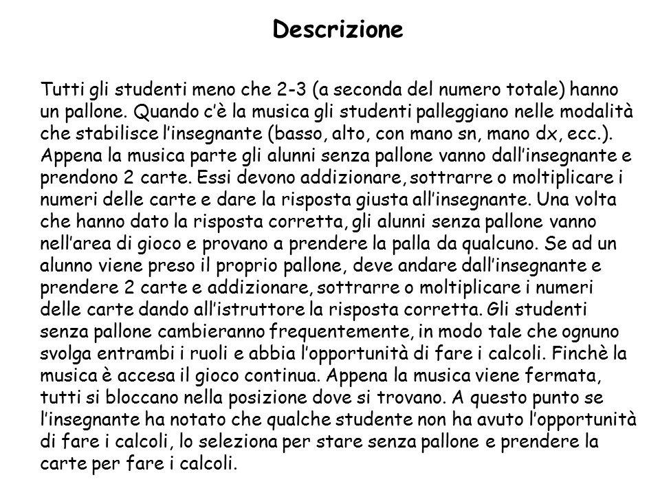 Descrizione Tutti gli studenti meno che 2-3 (a seconda del numero totale) hanno un pallone.