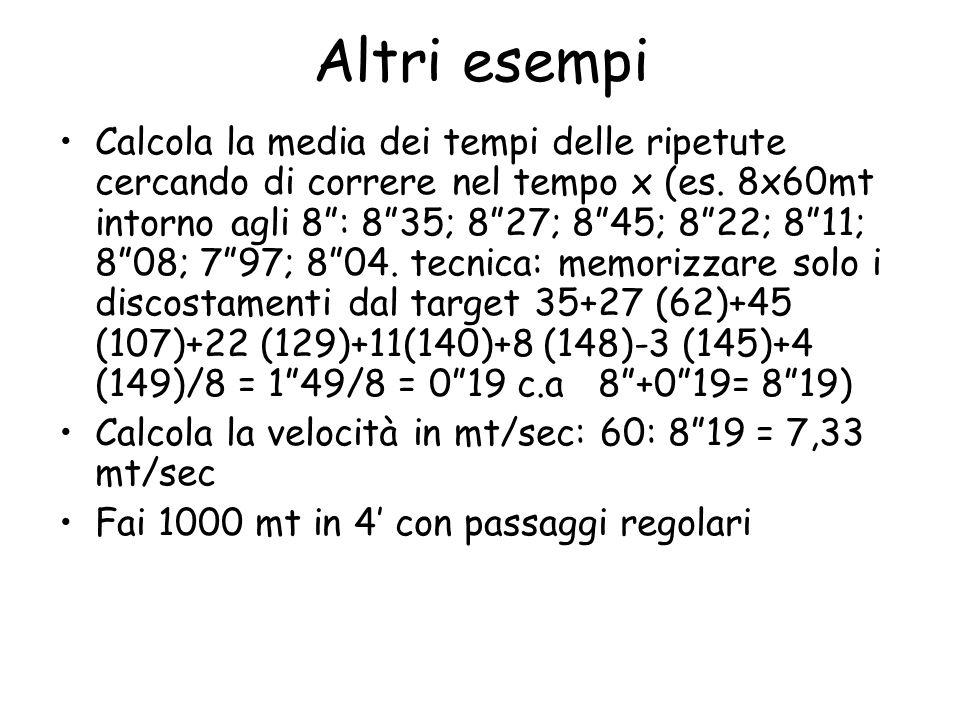 Altri esempi Calcola la media dei tempi delle ripetute cercando di correre nel tempo x (es.