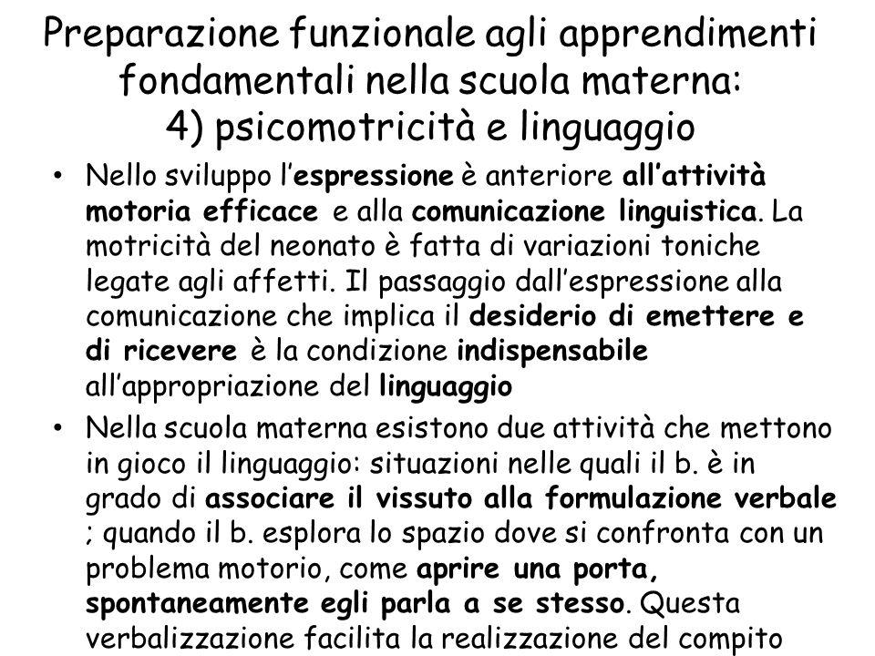 Preparazione funzionale agli apprendimenti fondamentali nella scuola materna: 4) psicomotricità e linguaggio Nello sviluppo l'espressione è anteriore all'attività motoria efficace e alla comunicazione linguistica.